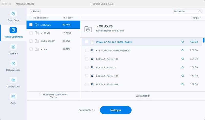 scanner les fichiers volumineux sur Mac
