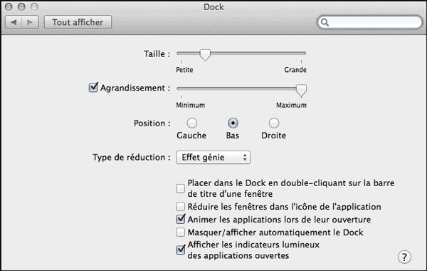 Quitter les applications dans le Dock